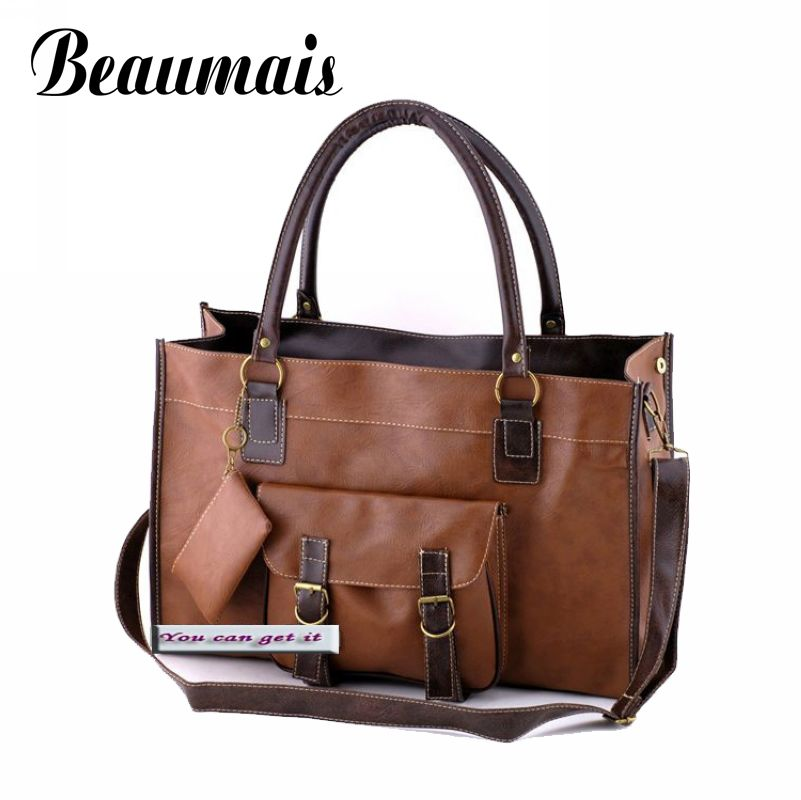 Beaumais New arrival!!2016 fashion vintage classic 3 color women handbags with pu leather bag casual tote flap pocket JK121