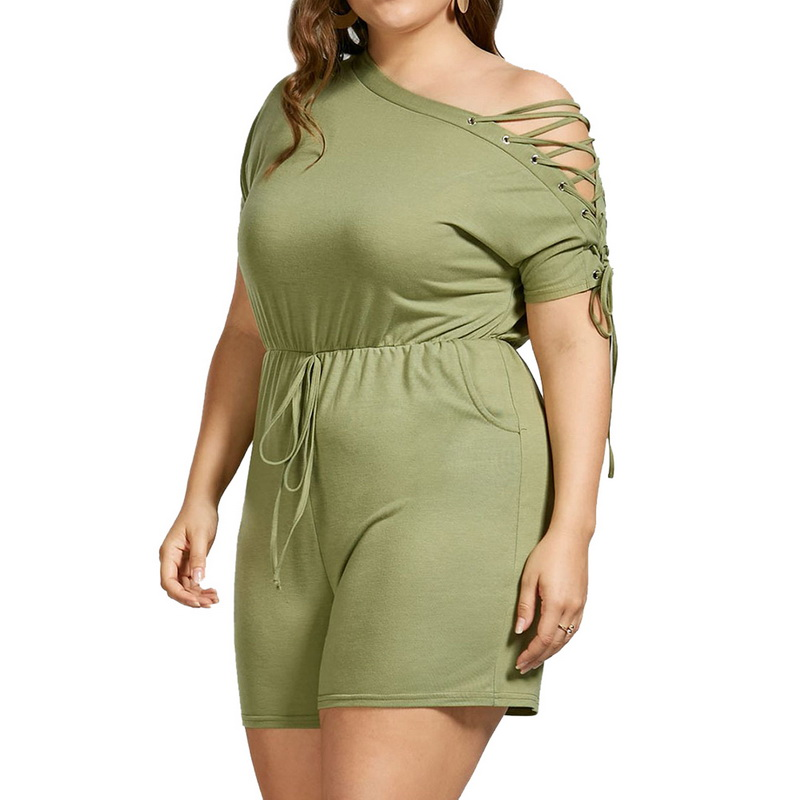 CALOFE Plus Size 5xl Fashion Sexy One Shoulder Lace Up Rompers Women Short Sleeve Playsuits Fashion Hollow Out Summer Jumpsuit