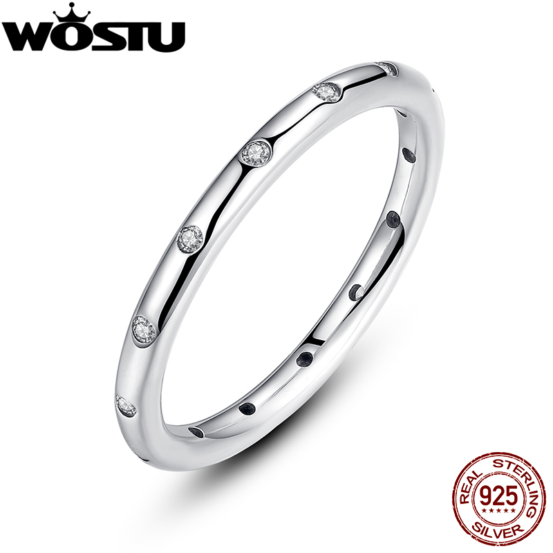 Real Authentic 925 Sterling Silver Droplets Stackable Engagement font b Rings b font With Clear CZ