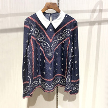 Women Ethnic style long sleeves Blouses Top New 2018 Autumn fashion print Shirts D781