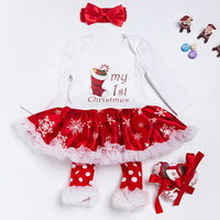 Christmas Cotton White Long Sleeve Girl Rompers Dress Baby Girls Clothes Sets 4pcs Newborn Jumpsuit Party