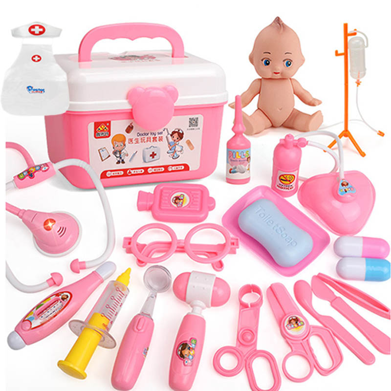 22 pcs/Set  Doctor Toys Play Set plus Doctor Clothing To Children Play House Toys Medical Kits Classic Toys Simulation Medicine
