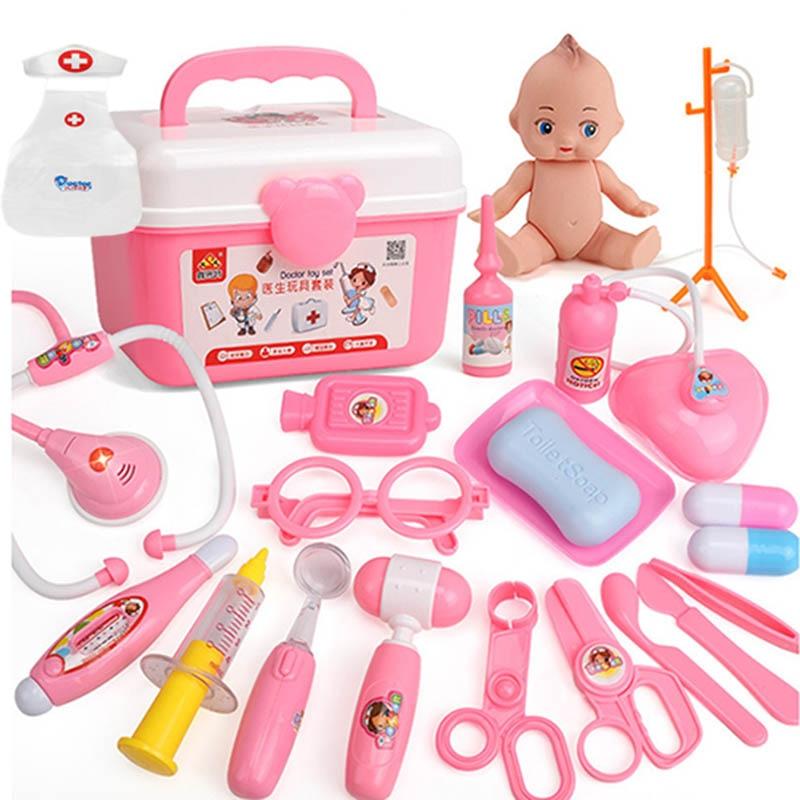 22 teile/satz Arzt Spielzeug Spielen Set plus Arzt Kleidung Kinder Spielhaus Spielzeug Medizinischen Kits Klassische Spielzeug Simulation Medizin
