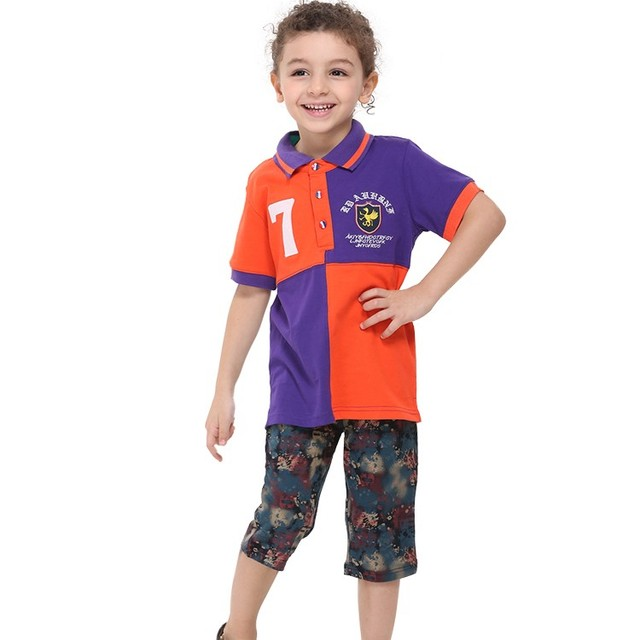Nova kids boy camiseta 2015 deportes de verano de algodón de estilo gira el collar abajo patchwork embriodery carta camiseta del muchacho niños ropa