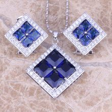 Attractive Blue Cubic Zirconia White CZ 925 Sterling Silver Earrings Pendant Necklace Jewelry Sets S0811(China)