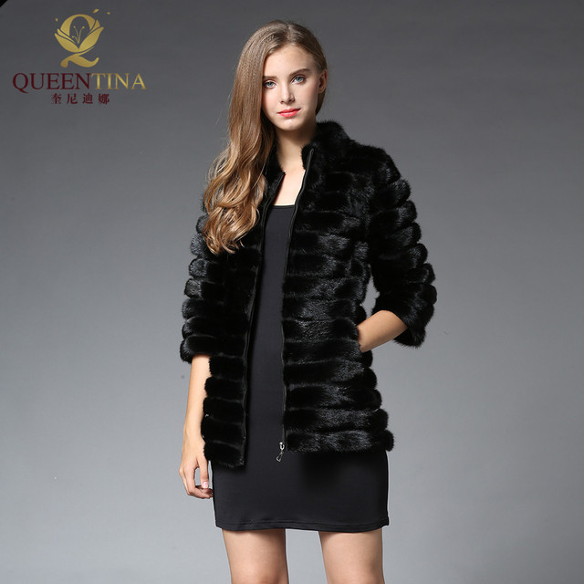 New Real Mink Fur Coats with Zipper Mandarin Collar Real Natural ...