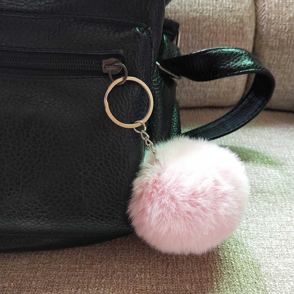 8 CM 13 Cores Fofo Chaveiro Bola de Pêlo de Coelho Bonito Creme Pompom preto Mulheres Saco Anel Chave Do Carro Chaveiro de Pele De Coelho Artificial