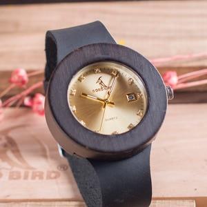 Image 4 - BOBO BIRD C03 Ebony Wooden Watch with Soft Leather Band Quartz Gold Analog Calendar High Quality Miyota Movement Accept OEM