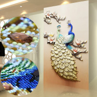 New Embossed Peacock Drill 3d Living Room Vertical Entrance Diamond Painting Flowers Special Shaped Stones Diamond