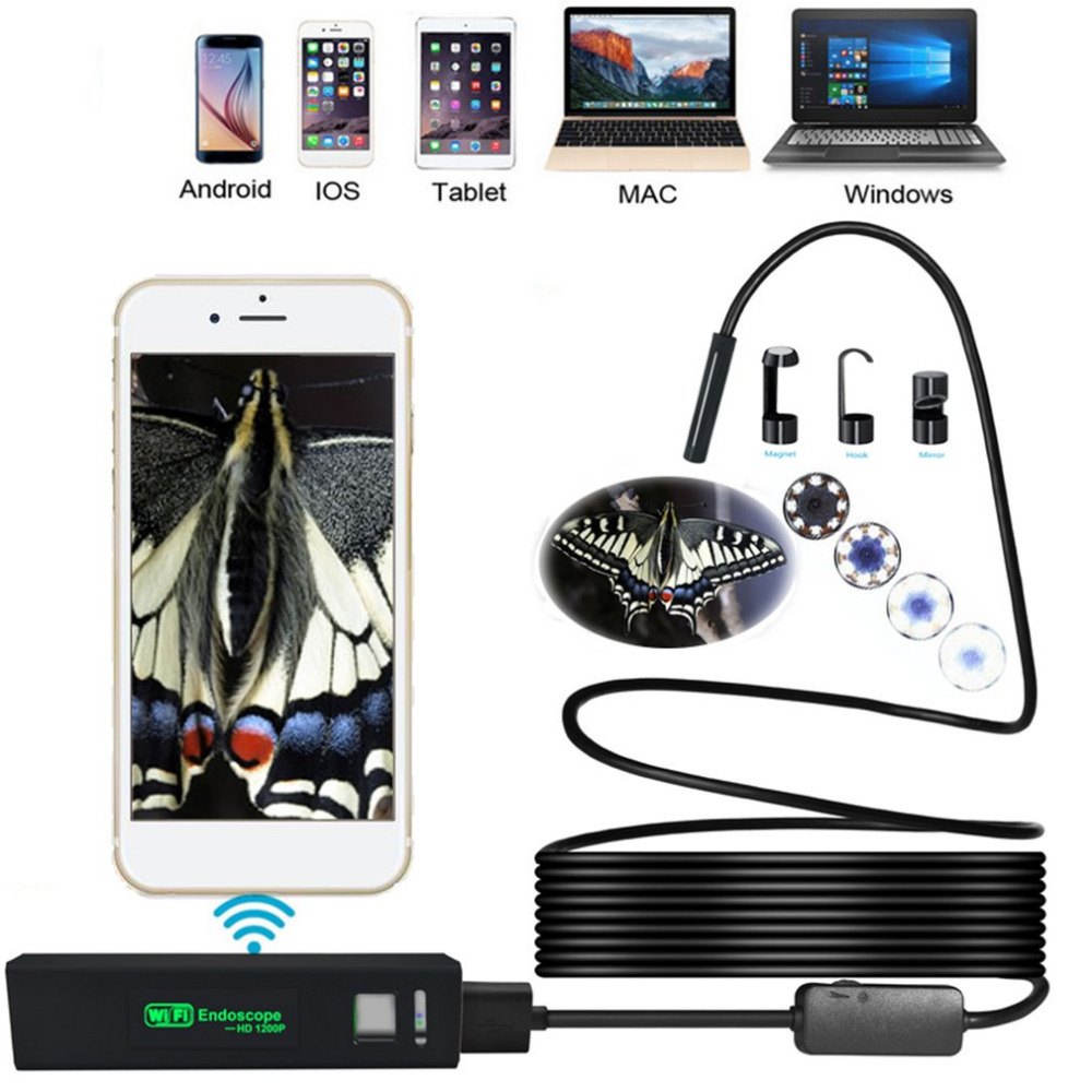 8LED 3.5M Flexible Snake USB WIFI Android IOS Endoscope Camera 1200P HD 8mm IP68 Waterproof Pipe Inspection Camera