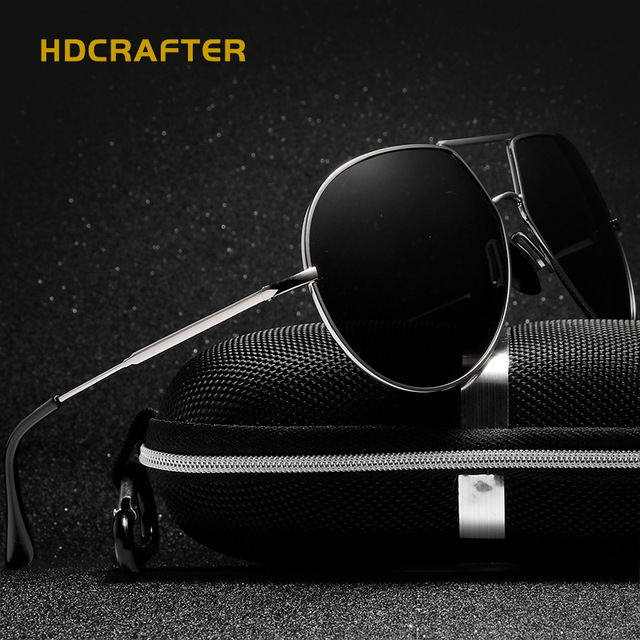 614b2918096 HDCRAFTER Men Sunglasses Polarized UV400 Classic Brand Aluminum Large Frame  Sun glasses Mens Luxury Driving Shades oculos de sol