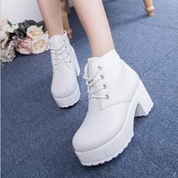 New Fashion Black White Women Platform Heels Ankle Boots Thick Heel Platform Shoes Combat Boots Women