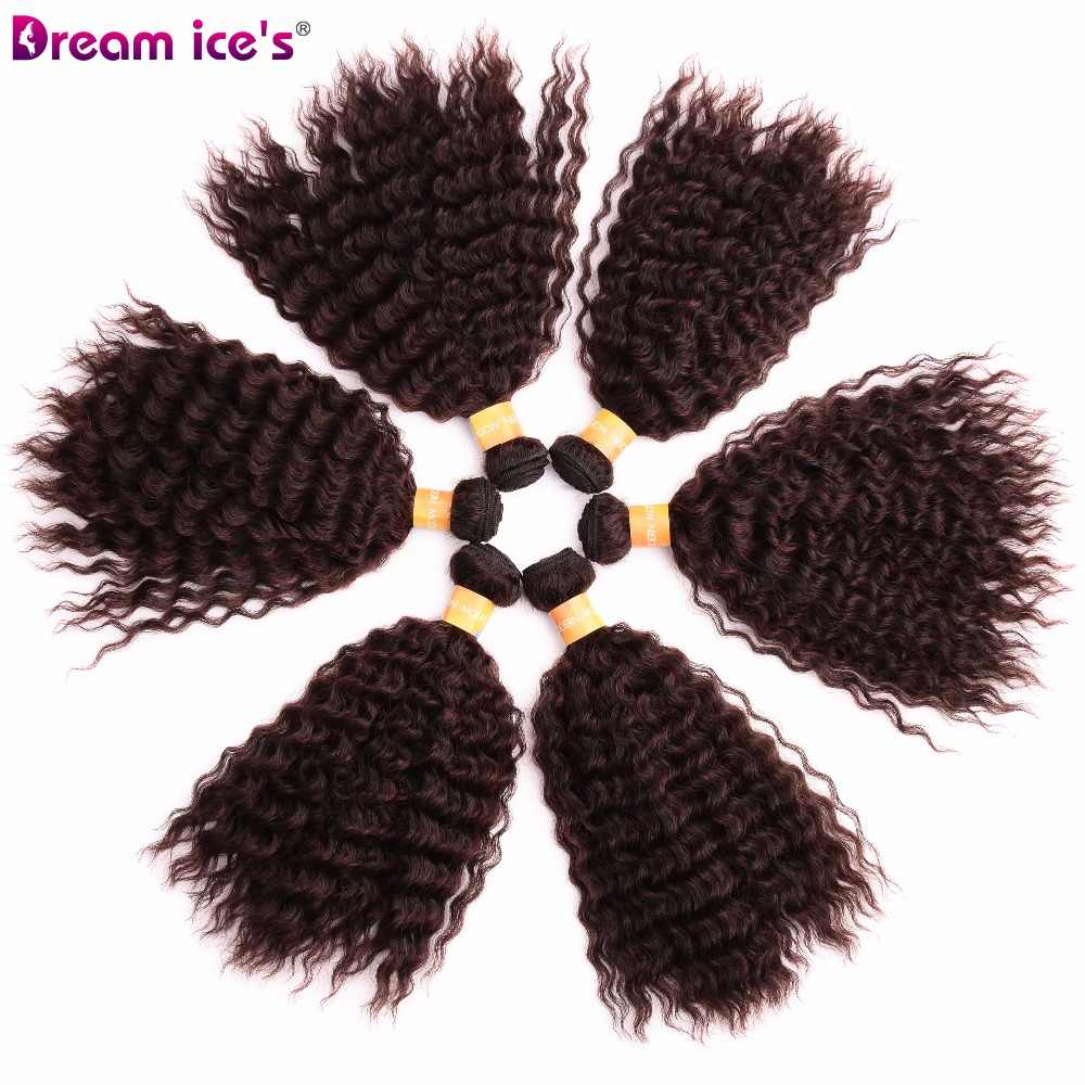 Dream ice's synthetic kinky curly hair bundle weaves six pieces /lot one pack for one head for afro women hair extension