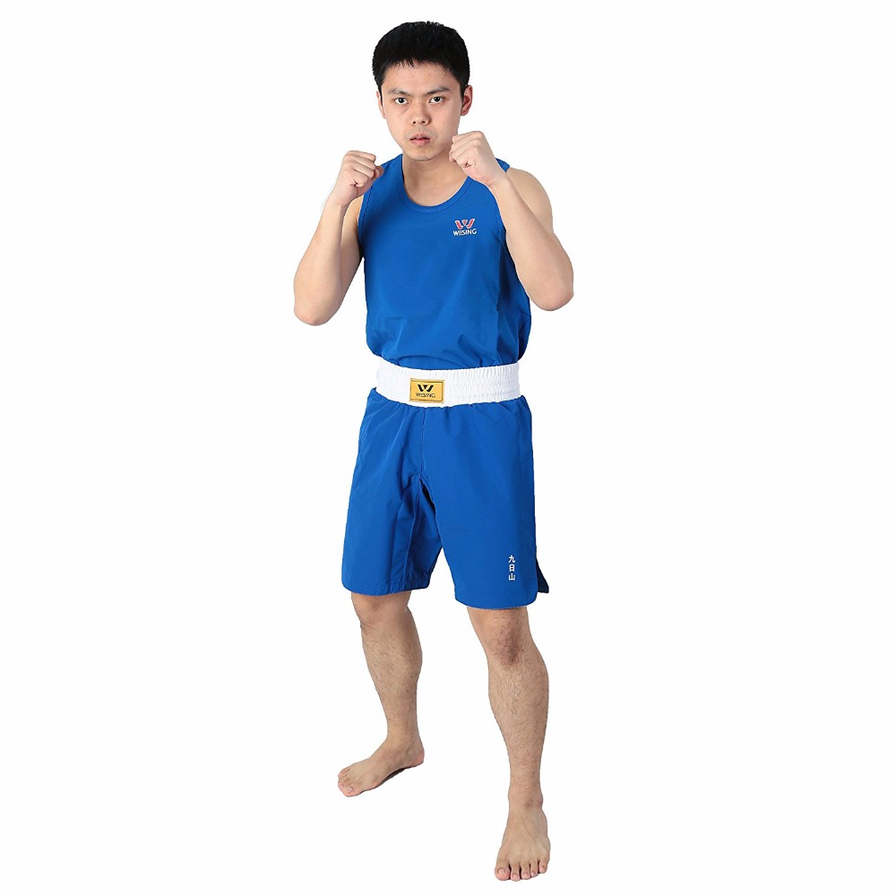Wesing Men's Boxing Shorts Uniforms Breathable Sanda Muay Thai Clothes Boxing Trunks Tank Tops Set Size S-3XL jduanl muay thai boxing waist training belt mma sanda karate taekwondo guards brace chest trainer support fight protector deo