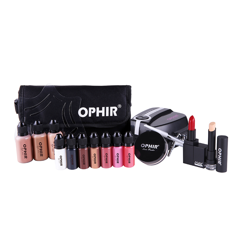 OPHIR Airbrush Cosmetic Makeup System Kit 0.3mm Air Brush & Mini Compressor 30ML Foundation 10ML Blush Eye Shadow & Bag_OP-MK002 ophir airbrush makeup kit cosmetic airbrushing set airbrush makeup system air foundation blush sprayer op mk004w
