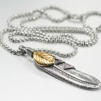 Brand Fashion Titanium Steel Necklace Men 316L Stainless Steel Feather Pendants Necklaces Charm Men Jewelry Party