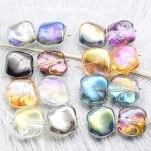 10pcs doreenbeads lampwork irregular contas de vidro para fazer jóias luz verde checo ab rainbow cor pulseira sobre 19x17mm