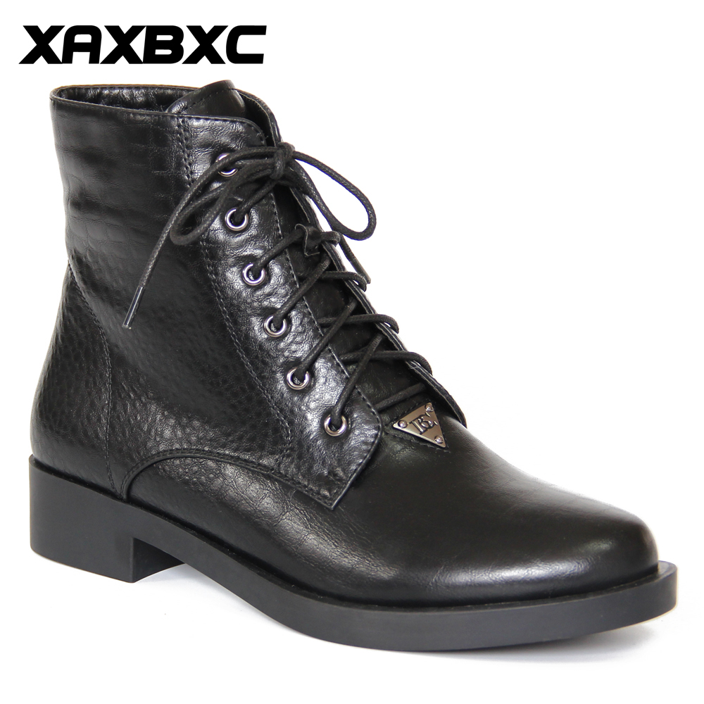 XAXBXC Retro British Style Leather Brogues Oxfords Short Boot Women Shoes Black Lace Up Round Toe Handmade Casual Lady Shoes