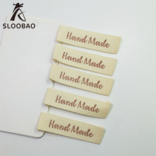 Free shipping 100PCs White Handmade Cotton Woven Labels  Washable Clothing Garment Tags
