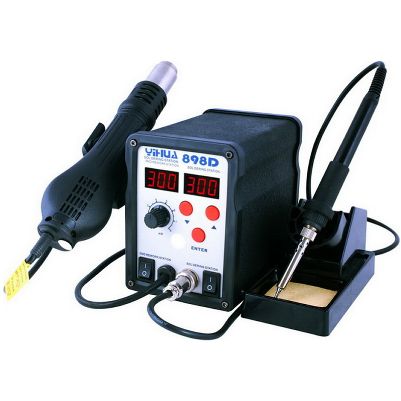 Lead Free SMD soldering station YIHUA 898D LED digital display , Hot air gun + solder iron 2 in 1 yihua 898d 750w heat air gun soldering station solder iron free gift tweezers