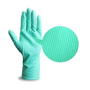 Image 2 - Nitrile перчатки водонепроницаемые GMG зеленый желтый 12 дюймов Алмазный Узор безопасные рабочие перчатки защитные механики перчатки