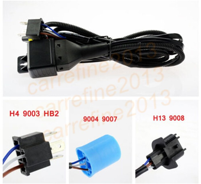 Rockeybright 35W 55W Hid Wire Adapter Extension Cable H4 9003 H13 9004 9007 Car Headlight Retrofit Hid Bixenon Projector Lens