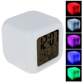 Mini 7 Colors Change Digital alarm clock snooze led light clock talking Electronic Table Watch Nixie Bedside Cube Clock For kids digital clock