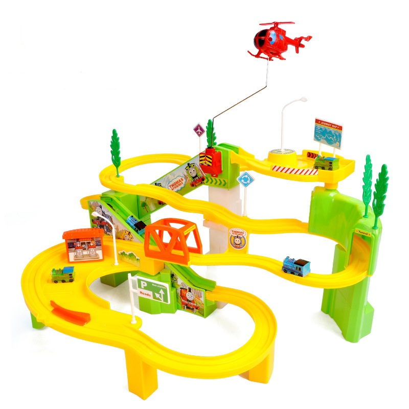 Music & Light Thomas Rail Car Toys for Children Puzzle Track Electric Train Plastic Thomas and friends Track Car Kids Toy W183 80pcs slot car track toys rail road train bus set square city traffic scene wooden rail track locomotive toys for children