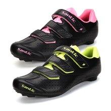 Santic PRO Road Men Cycling Shoes Nylon TPU Self-Locking Road Bike Bicycle Cycling Shoe Women EUR 36-45 Pink Green 2 Colors
