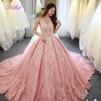Melice New Arrival Gorgeous Appliques Lace Ball Gown Wedding Dress 2018 Vintage Scoop Neck Princess Wedding