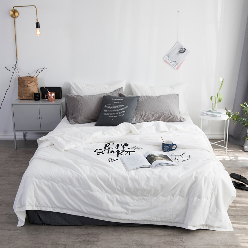 2018 White Black Summer Quilt/Comforter/Duvet/Blanket TTC Shell Cut Through 6 Colors Twin Queen King Top Quality soft bedclothes ...