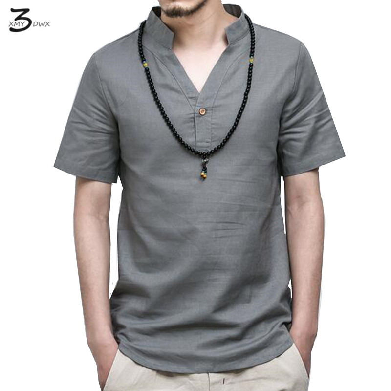 Xmy3dwx summer casual men linen shirt short sleeve solid v for Mens dress shirts fashion