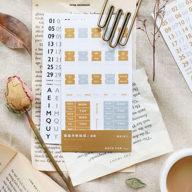 JIANWU 3pcs/set basic series 6 color letters number Index sticker Calendar sticker Decorative paper sticker School supplies