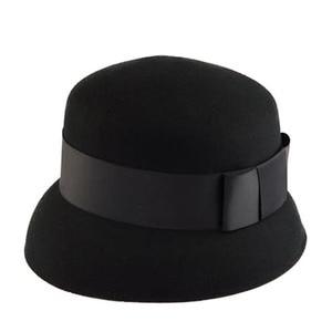 Image 4 - FS Brown Black Fedora Women Wide Brim Wool Cloche Hats For Elegant Bowler Felt Caps Vintage Ladies Church Hat Sombreros Mujer