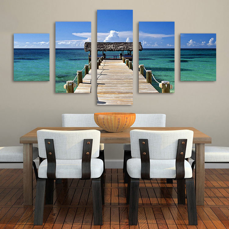 Home Decor Canvas Wall Art Painting Caribbean Picture Wood Bridge Canvas Art Print from Photo on Canvas for the Home no frame