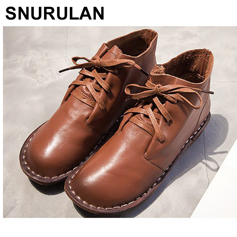 SNURULAN 2018 new ladies leather Women s shoes size 36 40 warm hot leisure series low