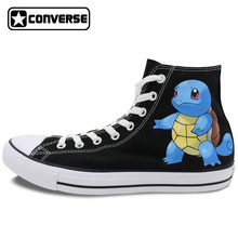Girls Boys Sneakers Men Women Original Converse All Star Pokemon Squirtle Design Custom Hand Painted Shoes High Top Canvas Shoes
