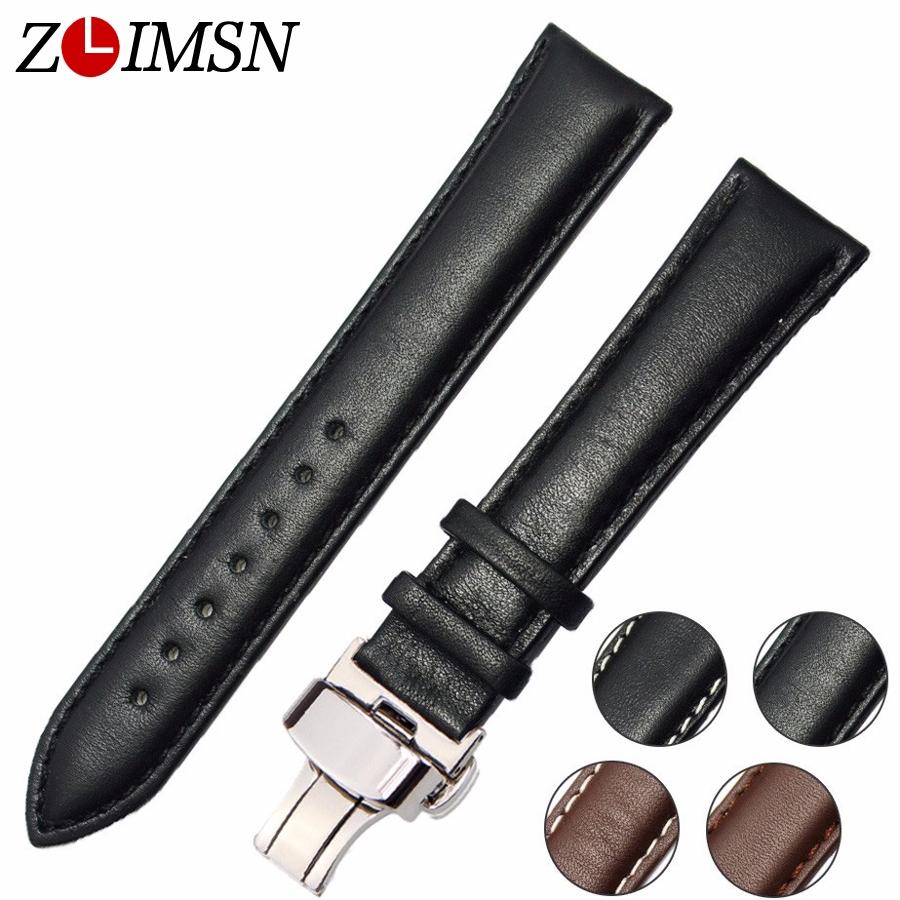 Prix pour Zlimsn véritable bracelet en cuir noir brun ss métal argent boucle Bracelets Ceinture En Acier Inoxydable Boucle Fermoir 18 20 22 24mm