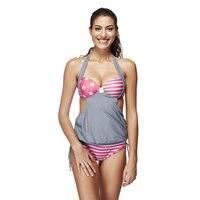 Double Push Up Halter Bathing Suit 2017 May Beach Secret Large size swimwear Rope Reversible Sports Indoor Swimsuit Monokini