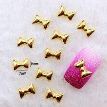 10 шт./лот 5*7 мм Золотой бант металлический сплав для маникюра художественные украшения 3D DIY наклейки для ногтей ювелирные украшения для ногтей амулеты