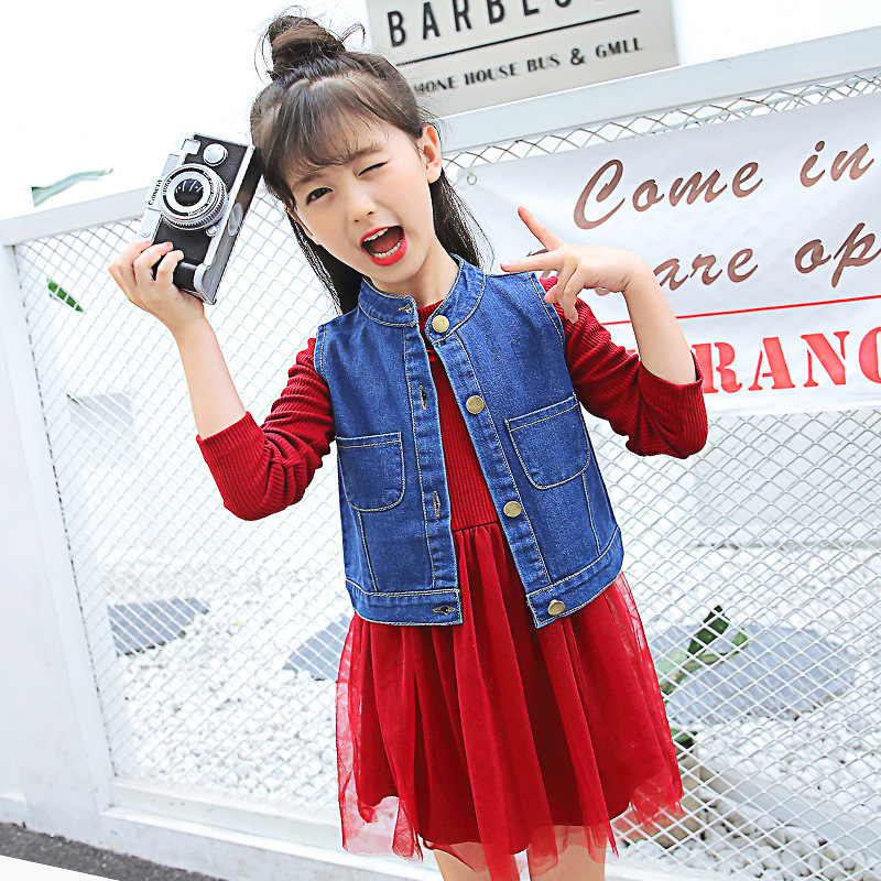 Girl Cowboy Vest Two Piecs New Pattern Children Leisure Time Cowboy Bar Long Sleeve Dress Kids Clothing Sets 2017 new pattern small children s garment baby twinset summer motion leisure time digital vest shorts basketball suit