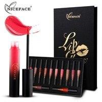NICEFACE 12pcs/set Liquid Matte Waterproof Long lasting Lipstick Makeup Nude Lip Lipsticks Metallic Make Up Cosmetics Kit