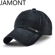 [JAMONT] Women Men Plain Denim Baseball Cap Adjustable Blank Snapback Trucker Hat Cotton Vintage Sunshade Bone Gorras Casquette(China)