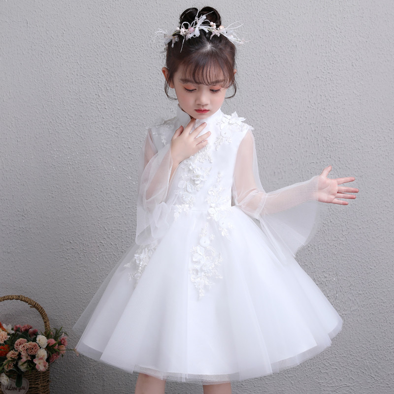 2019 Spring New Little Girls Children Pure White Wedding Birthday Party Flare Sleeves Princess Dress Kids Baby Piano Prom Dress2019 Spring New Little Girls Children Pure White Wedding Birthday Party Flare Sleeves Princess Dress Kids Baby Piano Prom Dress