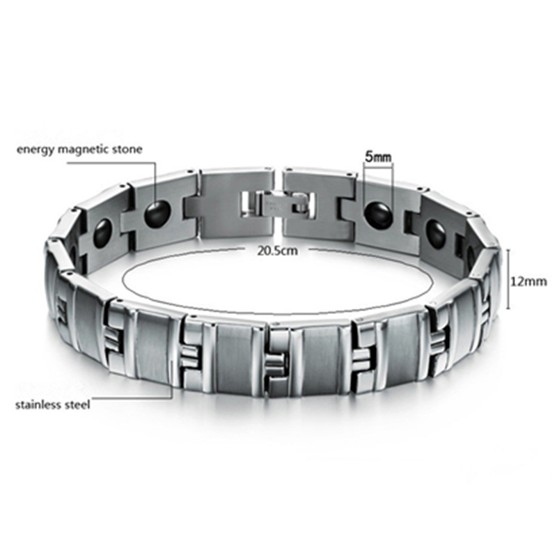 Stock Selling Men s Stainless Steel Bracelet Fashion Wristband Bangle Magnetic Energy with Gift Box Health