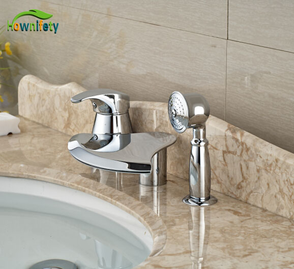 Chorme Finish Tub Faucet 3pcs Bathroom Faucet W/Hand Shower Tap Hot&Cold Tap elegant chorme polish tub faucet bathroom 5pcs faucet hot