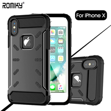 Romiky Shock Proof Aluminium + Silicon Metal Case For iPhone X 8 7 6 6S Plus i8 i10 i7 Case Phone Cover Matte Frosted Armor Case