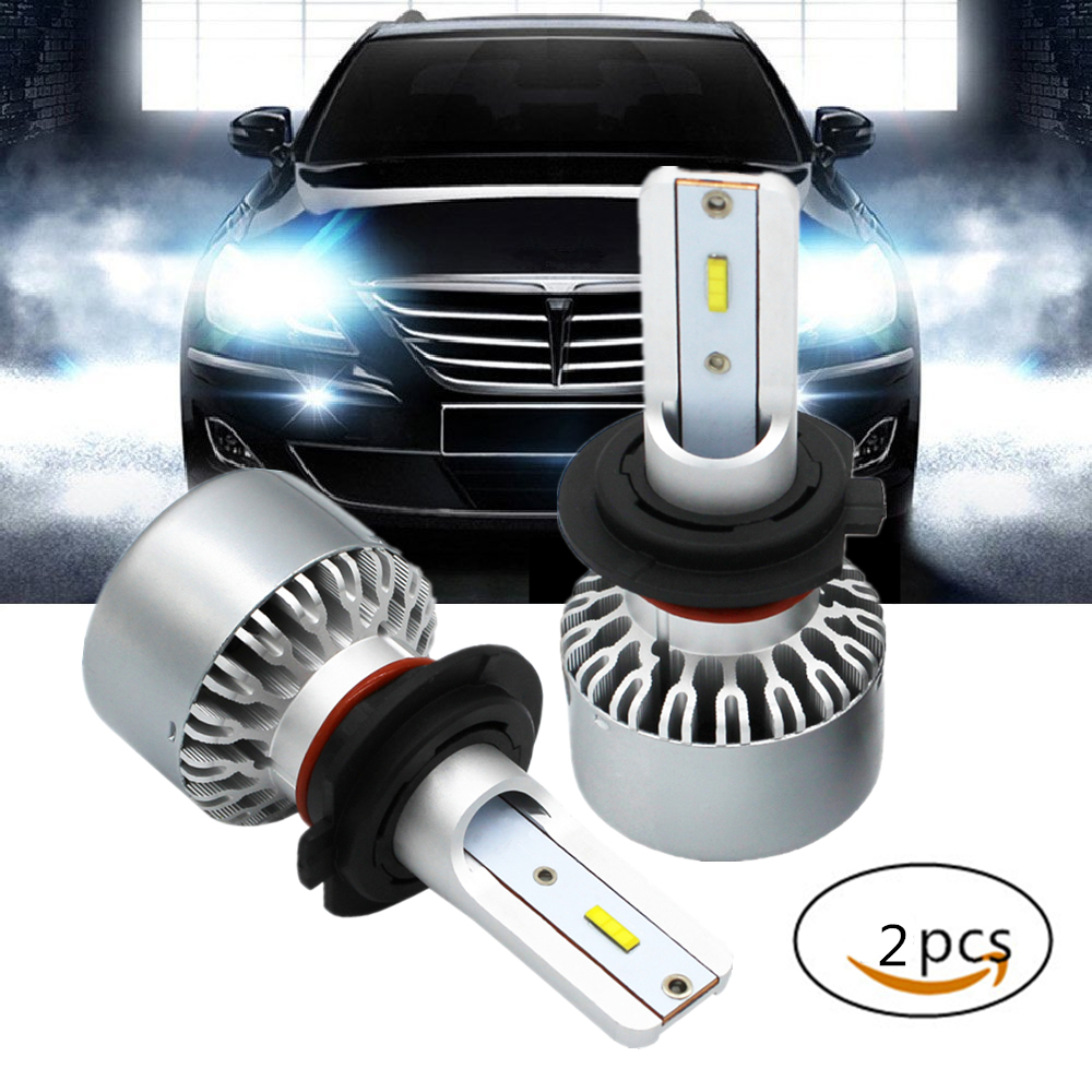 WLJH 2x White Canbus Auto Car Light H7 LED Bulbs Headlight Conversion Kit Led High Low Beam Lights Headlamp 60W 4000LM DC11V-30V