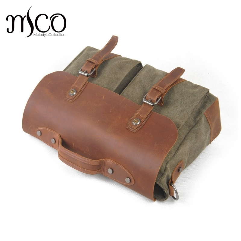 Vintage Military Crazy Horse Leather bags mens shoulder bags Canvas Casual Crossbody Laptop bag Briefcase Handbags Leisure bag