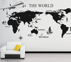 Large SIZE X Mm Removable World Map Pvc Wall Sticker Vintage - Where can i buy world map wall poster